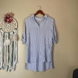 Thread and Supply Striped Tunic Dress Blue Size L